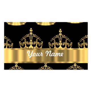 Gold crown pattern on black Double-Sided standard business cards (Pack of 100)
