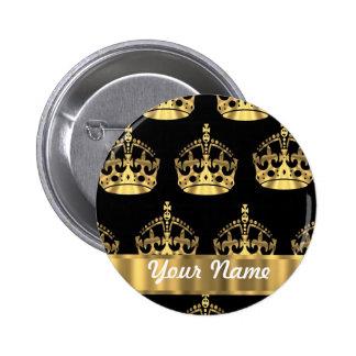Gold crown pattern on black 2 inch round button