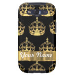 Gold crown pattern on black samsung galaxy SIII cover