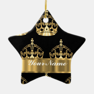 Gold crown pattern on black ceramic ornament