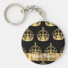 Gold crown pattern on black keychain