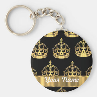 Gold crown pattern on black keychain