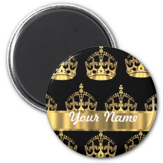 Gold crown pattern on black refrigerator magnet