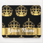 Gold crown pattern on black mouse pads