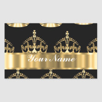 Gold crown pattern on black rectangular sticker