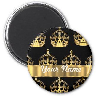 Gold crown pattern on black refrigerator magnet