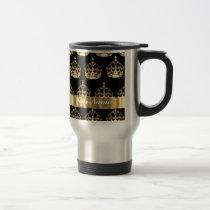 Gold crown pattern on black travel mug