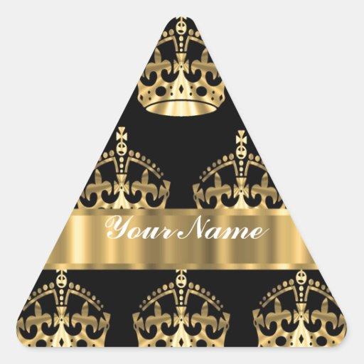 Gold crown pattern on black triangle sticker