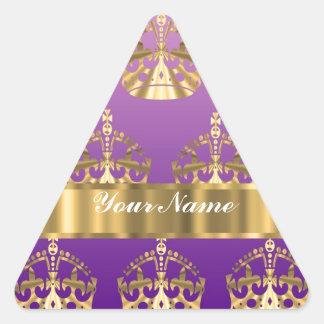 Gold crown pattern triangle sticker