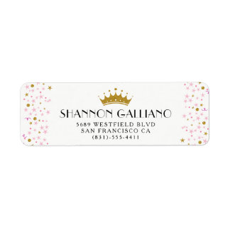 Gold Crown & Pink Confetti Address Label