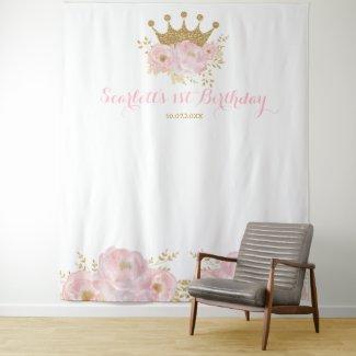 Gold Crown Princess Birthday Backdrop Photo Booth