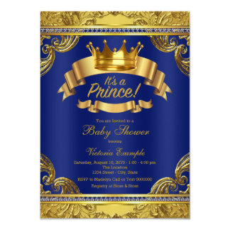 Gold Crown Royal Blue Fancy Prince Baby Shower Card