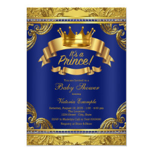 image relating to Free Printable Prince Baby Shower Invitations known as Gold Crown Royal Blue Extravagant Prince Child Shower Invitation