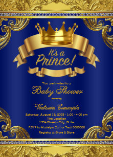 Royal baby shower invitations zazzle gold crown royal blue fancy prince baby shower invitation filmwisefo