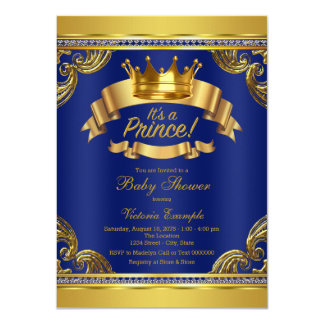 Gold Crown Royal Blue Prince Baby Shower Card