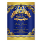 Gold Crown Royal Blue Prince Boy Baby Shower Card