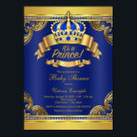 """Gold Crown Royal Blue Prince Boy Baby Shower Card<br><div class=""""desc"""">Fancy royal blue and gold crown prince baby shower invitation with elegant royal blue and gold crown and banners on a rich royal blue and gold swirl background. This elegant, fancy, beautiful royal blue and gold prince baby shower invitation is easily customized by simply adding your details in the font...</div>"""