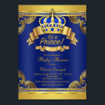 "Gold Crown Royal Blue Prince Boy Baby Shower Invitation<br><div class=""desc"">Fancy royal blue and gold crown prince baby shower invitation with elegant royal blue and gold crown and banners on a rich royal blue and gold swirl background. This elegant, fancy, beautiful royal blue and gold prince baby shower invitation is easily customized by simply adding your details in the font...</div>"
