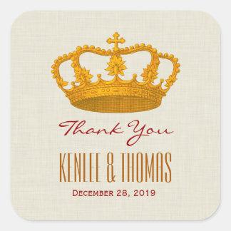 GOLD Crown Thank You Bride Groom Wedding V27 Square Sticker