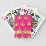 Gold crowns on hot pink bicycle poker cards