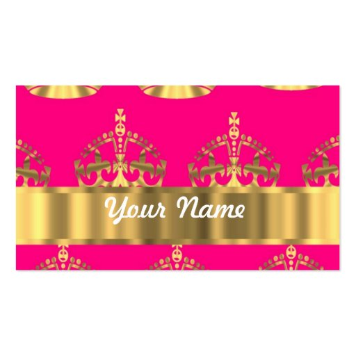 Gold crowns on hot pink business card