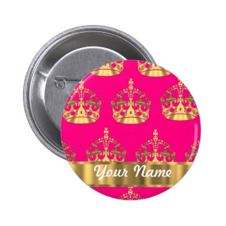 Gold crowns on hot pink 2 inch round button