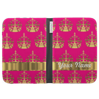 Gold crowns on hot pink cases for the kindle