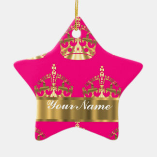 Gold crowns on hot pink ceramic ornament