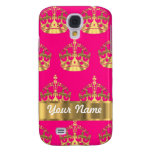 Gold crowns on hot pink galaxy s4 cover