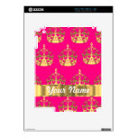 Gold crowns on hot pink iPad 2 decals