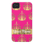 Gold crowns on hot pink iPhone 4 Case-Mate cases