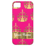 Gold crowns on hot pink iPhone 5 case