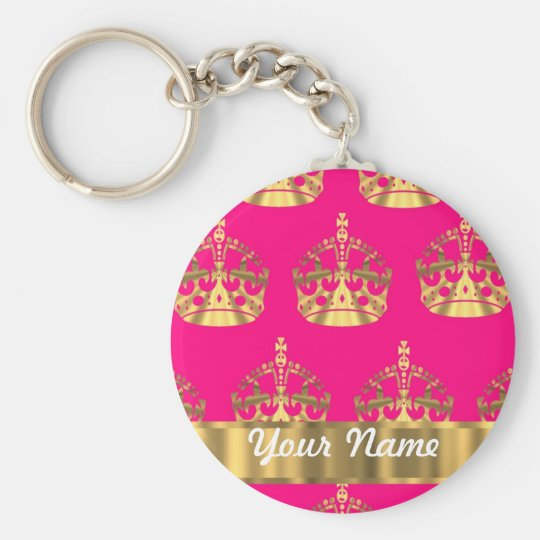 Gold crowns on hot pink keychain