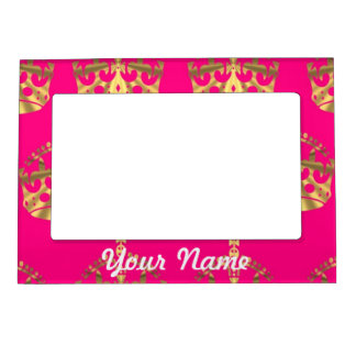 Gold crowns on hot pink magnetic frame