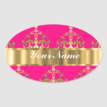 Gold crowns on hot pink oval sticker