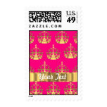 Gold crowns on hot pink postage stamps