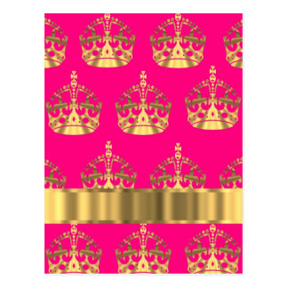 Gold crowns on hot pink postcard
