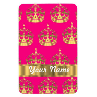 Gold crowns on hot pink flexible magnets