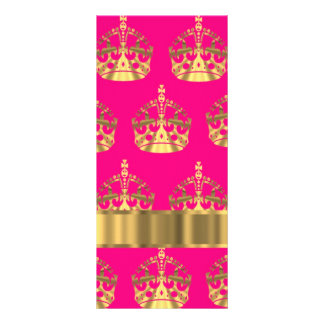 Gold crowns on hot pink rack card