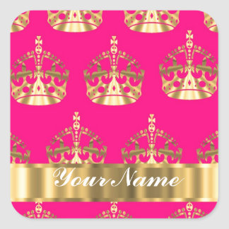 Gold crowns on hot pink square sticker