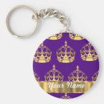 Gold crowns on purple basic round button keychain