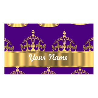 Gold crowns on purple business card templates
