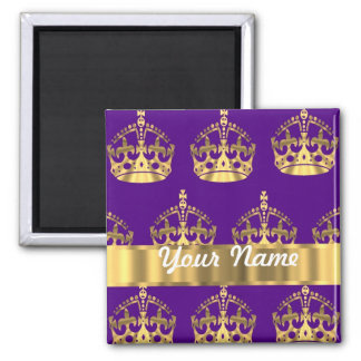 Gold crowns on purple magnet