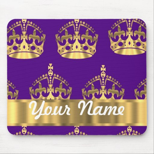 Gold crowns on purple mouse pad