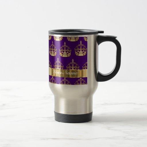 Gold crowns on purple 15 oz stainless steel travel mug
