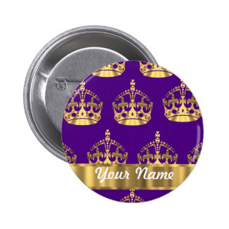 Gold crowns on purple pinback button