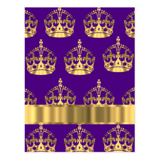 Gold crowns on purple post cards