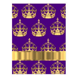 Gold crowns on purple postcard