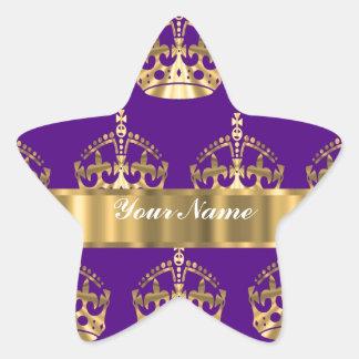 Gold crowns on purple star sticker