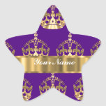 Gold crowns on purple stickers